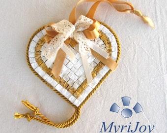 "DIY mosaic Yellow Heart 6""x6"" - Pebble art - Anniversary gift ideas - Mosaic wall art -  Italian marble mosaic tile kit"