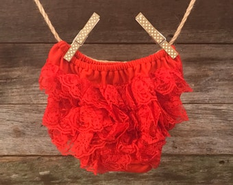 Red Lace Ruffle Bloomer