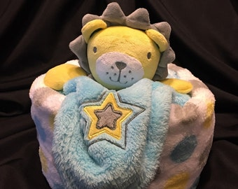 Lion Diaper Cake Gift With Plush Baby Blanket And A Security Blanket
