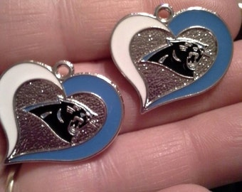 Set of 2 black panther heart charms.