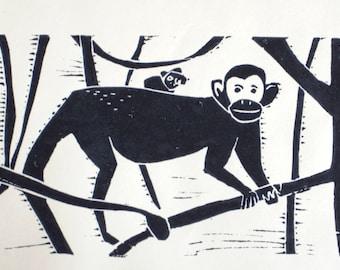 Luh uhul (original hand-pulled linocut print)