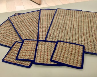 Thai Bamboo Placemat and Coaster Set for Four