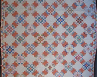 Antique Full/Queen Size Quilt, Geometric Patch With Zig Zag Border, 1930's Vintage Quilt With Small Piecework, Handmade /Hand Pieced #17897