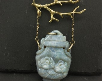 Vintage Opal Snuff Bottle Necklace