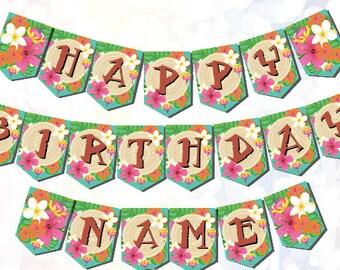 Moana Party Supplies Bunting customizable Digital Download Printable Moana Birthday