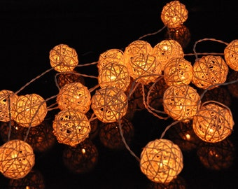 White String Lights For Bedroom, Indoor, Fairy Lights, Bedroom Lights, Decorative hanging Lights, Rattan String Fairy Lights Brown