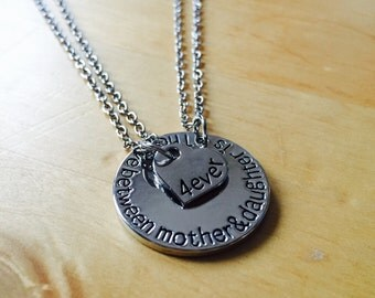 """mother daughter necklace mother daughter necklace """"the love between mother & daughter is forever"""" silver little heart set heart chain"""