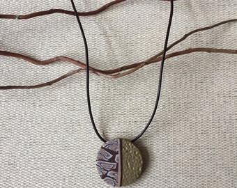 Textured Pendent with Browns and Golds
