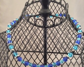 N128  Glass beads necklace 8mm Saphire,Aqua ,Silver 6mm  Aqua,Silver beads ,  30.00