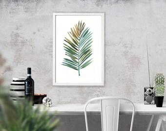 Palm leaf watercolor painting, Botanical art, Apartment decor, Palm print, Minimalist art , Green wall decor, INSTANT DOWNLOAD