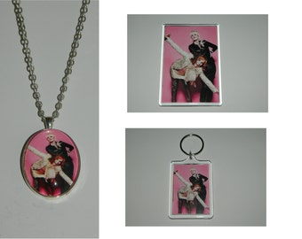 AbFab Absolutely Fabulous Glass Pendant Necklace, Acrylic  Keychain or Magnet or set