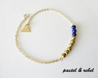 Night Blue Lapis Gold filled bracelet