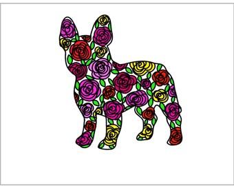 French Bulldog Floral Print - French Bulldog Flower Print - Colorful Frenchie - Flower Frenchie - Floral Frenchie - Frenchie Art - Frenchies