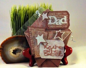 DAD - You're the Best - handmade gift card holder for Birthday, thank you or Fathers Day, with a matching organza pouch - ORIGAMI