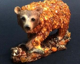 Statue amber, statue bear amber, bear amber, decoration amber, decorative bear, interior amber, Room design,statuettes design,decorativ bear