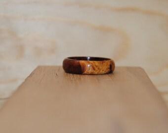 Amboyna Burl Exotic Species Ring (Jewelry)