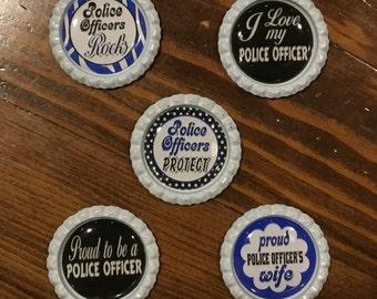 Handmade Police Officer , 1 inch BottleCap Magnets, Set of 5