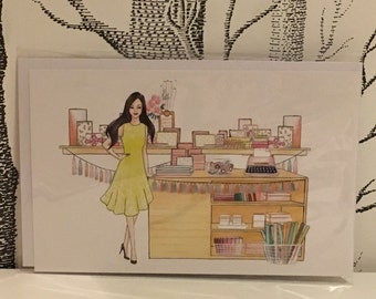 """Greeting card with envelop """"Stationary Lover"""""""