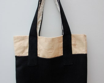 Canvas Tote Bag, Black and White, Stylish, Handmade, Floral.