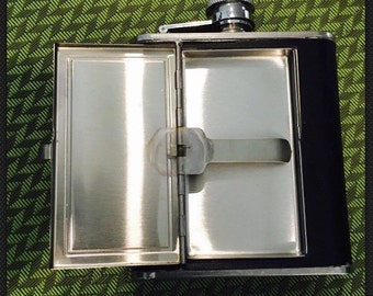 Vintage 5oz Stainless Steel Flask Screw Cap Liquor Alcohol Hip Pocket Whiskey