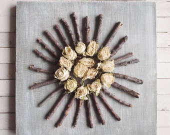 Dried rose wall hanging