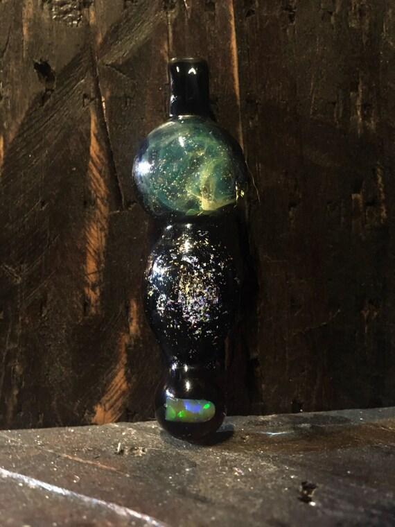 Heady pendant; gold & silver fumed nebula, dichro galaxy, and rare orange opal pendant necklace *FREE SHIPPING*