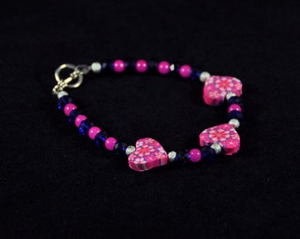 Pink and Cobalt Heart Bracelet