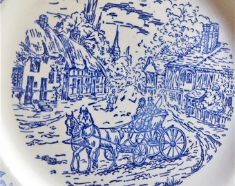 Vintage flat Worsens England Beverley beginning 20s white-blue / white plate England Beverley blue collection, start of the 20s
