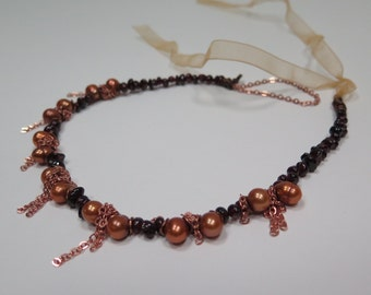 One-of-a-kind Garnet and pearl copper necklace
