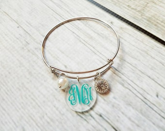Bangle Bracelet, Monogram Bracelet, charm Bracelet, custom jewelery, Monogram jewelry, bridesmaid gift, teachers gift, women's gift