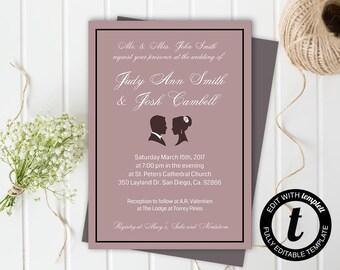 wedding invitation, wedding invitation template,wedding template, formal invitation, editable, 5x7 template, pink, mauve, silhouette