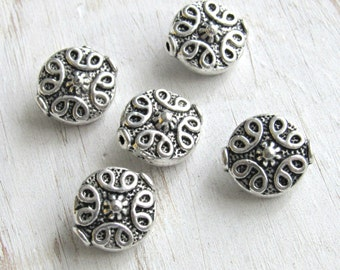 Focal beads, set of 5, silver spacer beads, tribal metal beads, coin beads, silver roound beads, carved silver beads, decorative beads