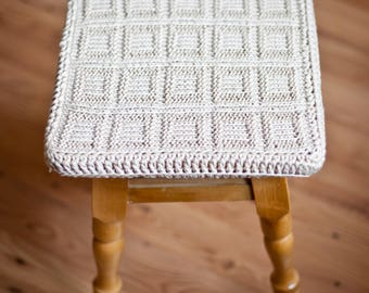 Knit cotton cover for square stool. Knit décor. Knit cover for stool. Cover for stool