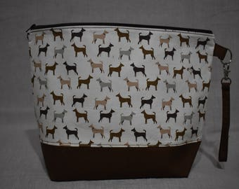 Dog Project Bag, Medium Project Bag for Knitting or Crochet