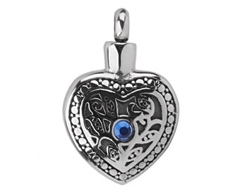 Silver Heart Cremation Urn Pendant
