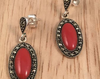 Marcasite and red earrings, silver and marcasite earrings, marcasite drop earrings
