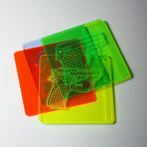 Water Pistol Coaster - Set of 4