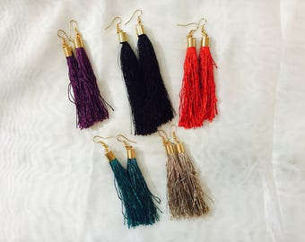 Long fringe earrings thread
