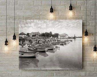 East Grand Rapids Photo, Reeds Lake, Millers Boat Rentals, 1900s, Black and White Photography, Grand Rapids Michigan Photography, Poster