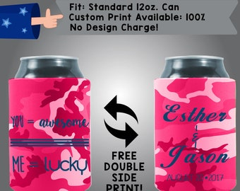 You = Awesome Me = Lucky Names Date Collapsible Fabric Wedding Cooler Double Side Print (W164)