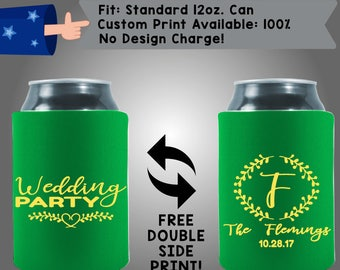 Wedding Party Initial Collapsible Neoprene Can Cooler Double Side Print (W320)