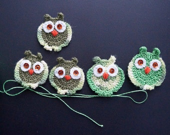 Crocheted owls Baby dress applique Owl embellishment Owl applique Scrapbooking Bright green Little owl Sewing accessories Cute applique