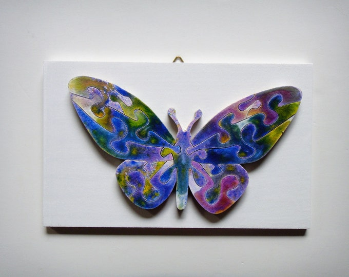Puzzle Art: Butterfly Blue, Healing Art Smart Toy Family Gift Brain Game Wooden Handmade Ready To Hang Acrylic On Pieces by Samo Svete
