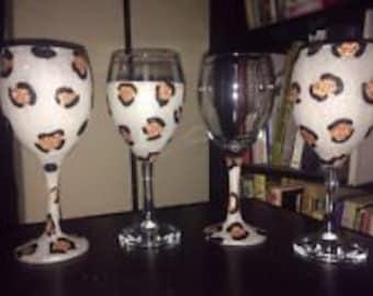 Leopard Print Glitter Glass
