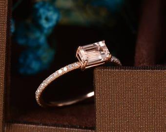 Rose Gold Engagement Ring Emerald Cut Morganite Ring Half Eternity Diamond Anniversary Unique Promise Minimalist Stacking Bridal Set Antique