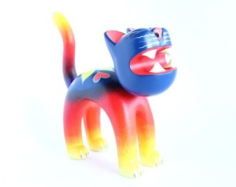 Wooden Blue Red & Yellow Cat