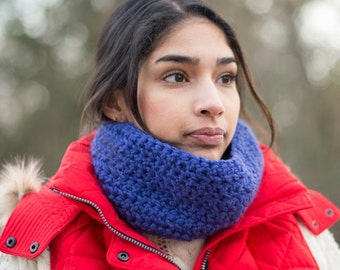 Cobalt Blue Crochet Neck Warmer Scarf