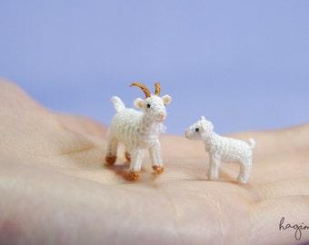 Tiny crochet Father Goat and goatling, Miniature white Goats, Amigurumi animals