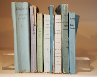 8 Blue and white antique books for decoration