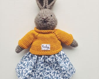 """Knitted bunny """"Cute country mustard"""""""